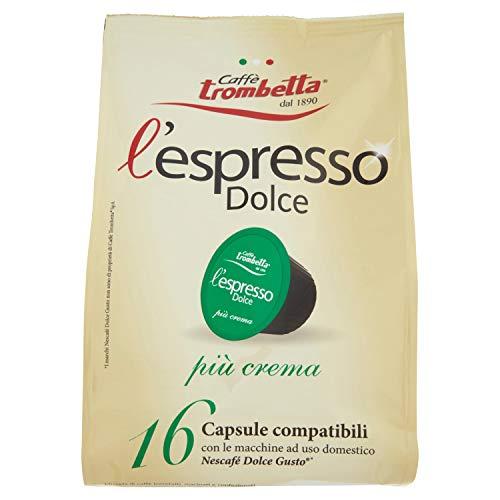 Caffè Trombetta L'Espresso Dolce, Capsule Compatibili Nescafè Dolce Gusto, Più Crema - 16 Capsule