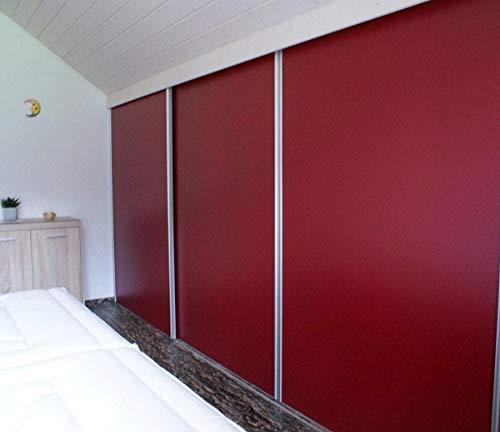 Schiebetüren Bausatz | für 3 Türen | inklusive 6 Schienen-Griffe-Kantenprofile. Die 3 Türen können hintereinander geschoben werden (größtmögliche Öffnungsbreite)