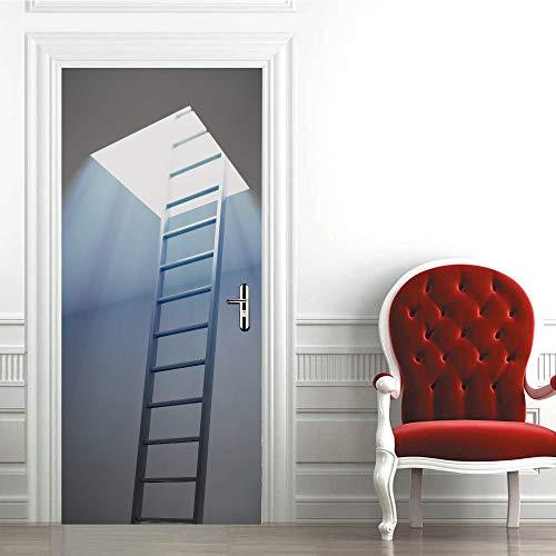 Lihaohao 3D deur kunst, zelfklevende deur wand, deursticker milieuvriendelijk bovenlicht deursticker 90cm*200cm A