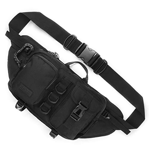 Fitdom Tactical Sling Bag for Men. Made from Heavy Duty Techwear Nylon & Built Tough for Outdoor. Also Use As EDC, shoulder Backpack, Fanny Waist Pack, Crossbody or Chest Bag for Travel Cycling
