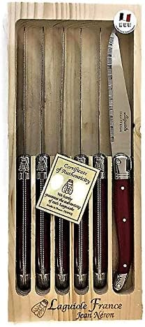 Neron Coutellerie In a popularity Laguiole 6 Piece Set with Pla specialty shop Steak Knives Red