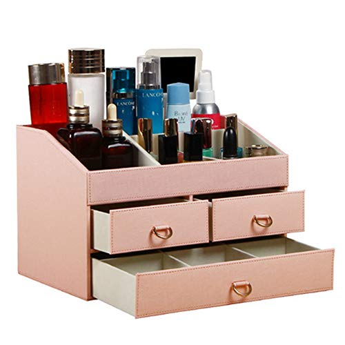 Porte-Maquillage Support de Rangement Cuir Grande capacité cosmétique boîte de Rangement de Bijoux Bijoux étanche à Trois Couches de ménage, Rose