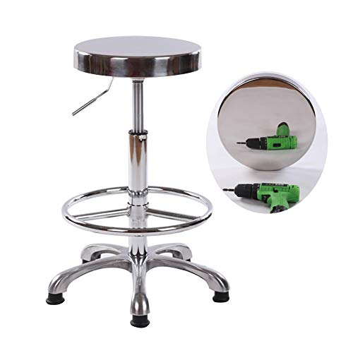 AGLZWY Giratorio Taburete De Bar Silla De Trabajo Telesilla Altura Ajustable Metal Rodante para Beauty Studio Clínica Cocina De Mostrador, 4 Tamaños (Size : B-32X60-80cm)