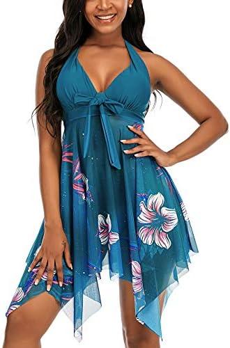 Jouplsar Women s Two Piece Swimdress Swimsuit Mesh Printed Tankini Set Bathing Suits Dress Tummy product image
