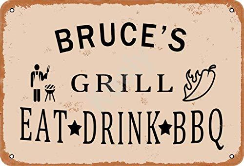 Keely Bruce'S Grill Eat Drink BBQ Metall Vintage Zinn Zeichen Wanddekoration 12x8 Zoll für Cafe Bars Restaurants Pubs Man Cave Dekorativ