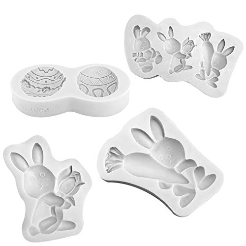 Easter Eggs Chocolate Ice Mold Egg Bunny Rabbit Party Bakeware Silicone Soap Jelly Mould Fondant Cake Candy Decorating Topper (#04)