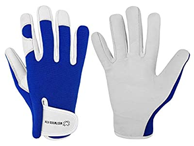Ladies/Mens Leather Gardening Gloves Thorn Proof Garden work gloves with Goatskin Leather Breathable Spandex Back (Small, Blue)