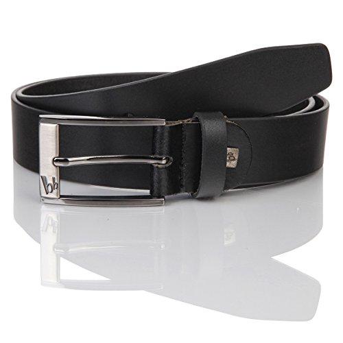 Cinturón de piel para hombre de Bruno Banani, piel de vacuno, negro, modelo 30008 negro 105
