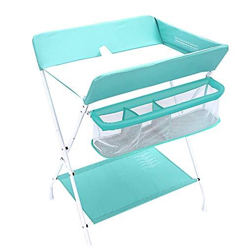 DSJMUY Table à Langer pour bébé Blue Infant Storage Unit Dresser Pliable Cross Portable Care Station with Safety Straps, Save Space