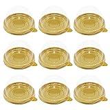 NUOBESTY 100 Piezas Contenedor de Pastel de Yema de Huevo Cajas de Cúpula de Pastel de Luna Transparente Caja Plástico para Hornear