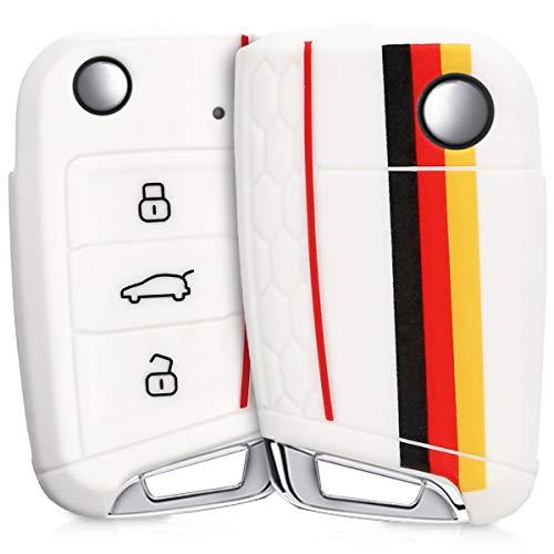 kwmobile Funda Compatible con VW Golf 7 MK7 Llave de Coche de 3 Botones - Carcasa Protectora Suave de Silicona - Bandera Alemana