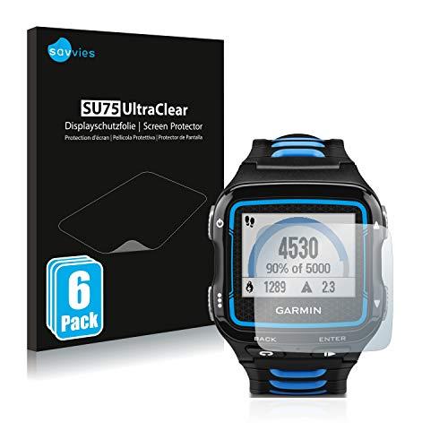 savvies Protector Pantalla Compatible con Garmin Forerunner 920XT (6 Unidades) Pelicula Ultra Transparente