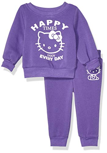 Hello Kitty Baby Girls 2 Piece Sweatshirt and Pant Active Set, Ultra Violet, 18M, 18 Months
