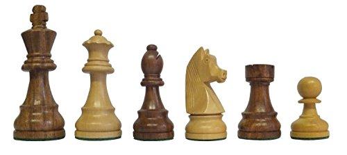 SchachQueen - Bundesliga Turnier Schachfiguren braun/weiß Classic Holz Königshöhe 97 mm