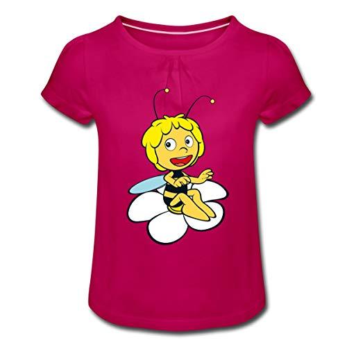 Spreadshirt Biene Maja Sitzt auf Blume Mädchen T-Shirt mit Raffungen, XS, Fuchsia