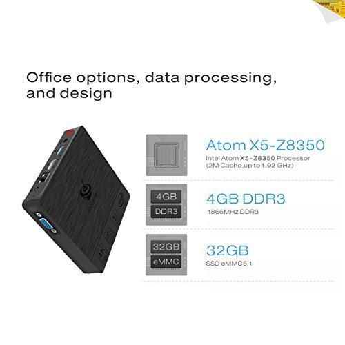 [4GB RAM + 32GB ROM] Maxesla BT3 PRO Mini PC Support Windows 10 & Linux System Intel Atom X5-Z8350 Processor Smart Desktop Computer with 2.4G/5G Dual-Band WiFi, Gigabit 1000M LAN, Bluetooth 4.0, 4K2K