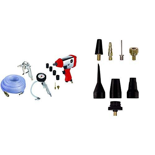 Einhell 4020565 Set de aire comprimido, presión de trabajo 6.3 bar, consumo de aire 141 l/min + Pack de 8 accesorios para aire comprimido, color negro