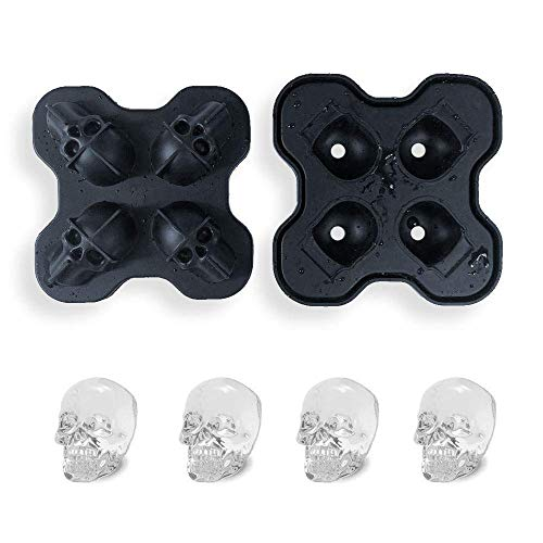 2 Pack 3D Ice Cube Tray with Lid Silicone, easy Skull Ice Cube Mould Bpa Free for Freezer Candy Sugar Chocolate Mold Maker, Bar Whisky Cocktail Ice Make for Parties Black