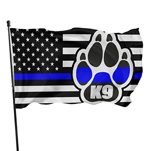 ZHAOJING Thin Blue Line American Flag K9 Home House Flags Outdoor Flags Banner Flags for Outside 3x5 Ft
