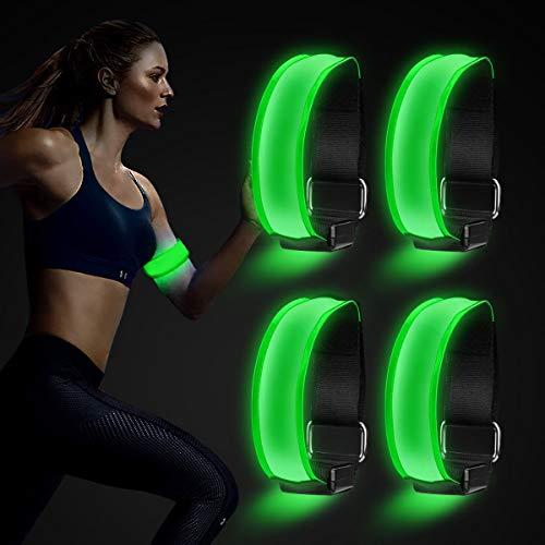 AODOOR LED Armband, LED Reflective Armband Leucht Armbänder Lichtband, Wasserdicht Leuchtband Kinder Nacht Sicherheits Licht Reflektor für Laufen Joggen Hundewandern Outdoor Sports, 4 Stück (Grün)