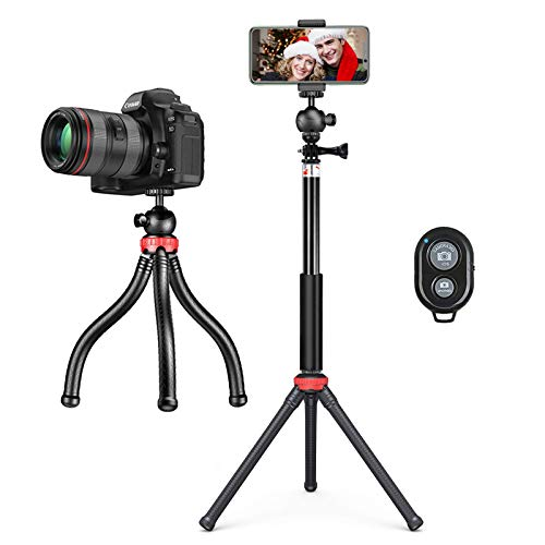 Handy Stativ Orthland, Mini Stativ Tripod Flexibel mit Verlängerungsstangen und 1/4 Schraubenkopf, Mini Selfie Stick Ständer mit Fernauslöser für Kamera iPhone Gopro