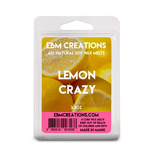 Lemon Crazy - Scented All Natural Soy Wax Melts - 6 Cube Clamshell 3.2oz Highly Scented!