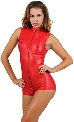 Miss Noir Damen Overall im Wetlook Spielanzug Clubwear Party Kleidung mit Zweiwege-Reißverschluss, Rot, L