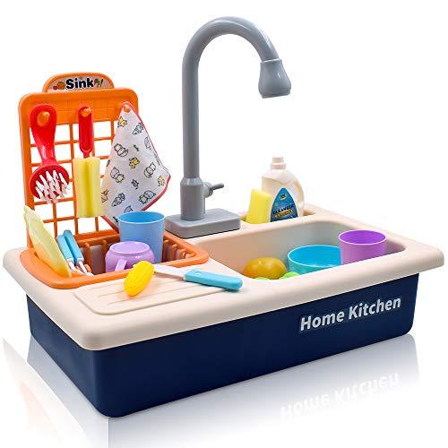 Acelane Küchenspielzeug mit Wasserkreislauf Geschirrspüler, Spülbecken Küchenset, Rollenspiel Spielzeug für Kinder Jungen Mädchen ab 3 bis 6 Jahre alt