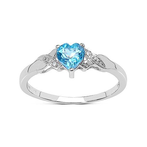 La Colección Anillo Topacio : Anillo Oro Blanco 9ct con corazón de Topacio Azul y set Diamantes en los hombros, Anillo de compromiso, Perfecto para Regalo, Talla del anillo 8