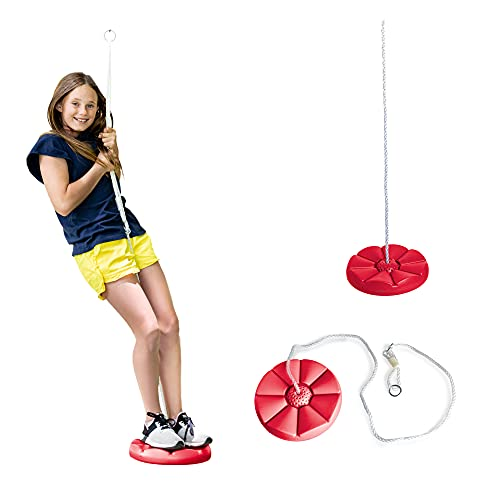 Squirrel Products Heavy Duty Red Disc Tree Swing with Rope for Outdoor Play - Easy DIY Addition to Playset or Tree