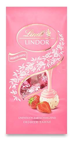 Lindt LINDOR Beutel Erdbeer-Sahne, weiße Schokolade mit unendlich zartschmelzender Erdbeer-Sahne Füllung, 2er Pack (2 x 137g)