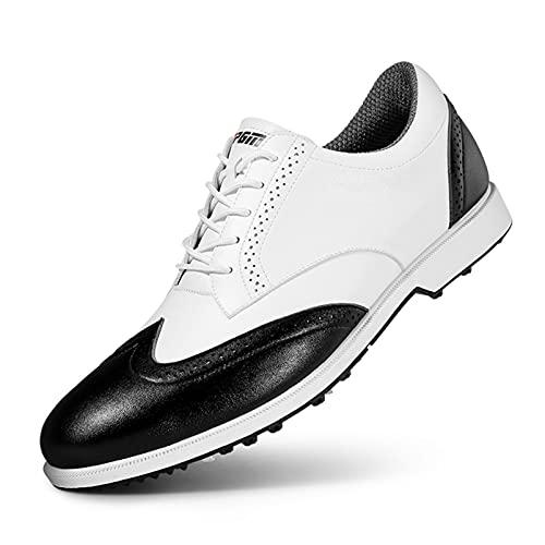 Shoe Zapatos de Golf para Hombres, Zapatos Deportivos Casuales Impermeables, Zapatillas de Deporte Transpirables de Cuero de Microfibra de Negocios, Zapatos para Caminar al Aire Libre