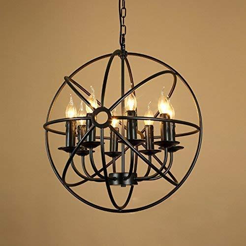 BOSSLV Vintage Industrie Licht Kronleuchter Deckenlampe Pendent Lampe Indoor 8 Lichter in Schwarz mit Globus Käfig