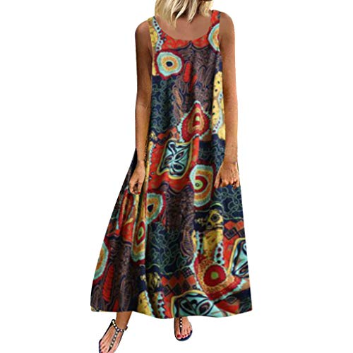 Malloom-Bekleidung Frauen Plus Größe beiläufige lose ärmellose Boho Retro Leinen Druck langes Maxi Kleid Loses, kurzärmliges Retro-Kleid aus Baumwolle und Leinen in Übergröße mit Rundhalsausschnitt