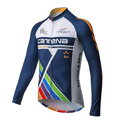 CATENA Men's Cycling Jersey Short Sleeve Shirt Running Top Moisture Wicking Workout Sports T-Shirt Black (Dark-Blue, M)