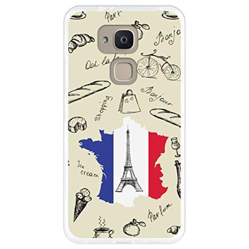 Telefoonhoesje voor [ Bq Aquaris V Plus - VS Plus ] tekening [ Eiffeltoren, kaart en de vlag van Frankrijk ] Transparant TPU flexibele siliconen schaal