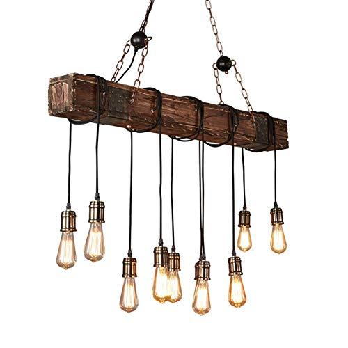 Luz pendiente de la vendimia de la lámpara pendiente retro Industria de la Madera DIY Diseño Lámpara colgante Lámpara colgante Isla de cocina comedor Mesa altura de habitaciones Bar Loft rústico Lámpa
