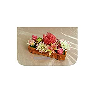 Silk Flower Arrangements Red Artificial Succulent Plant (9pcs+1 Wood Plate)/Set Desert Plastic Flower Bonsai Table Decoration
