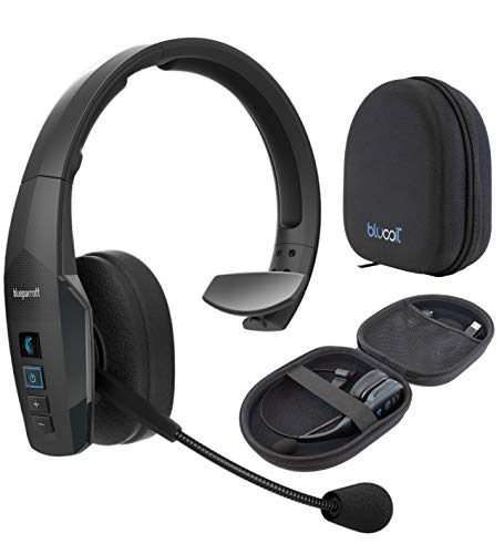 BlueParrott B450-XT Noise Canceling Bluetooth Headset for Android, iOS, Mac, Windows Bundle with Blucoil Headphones Carrying Case