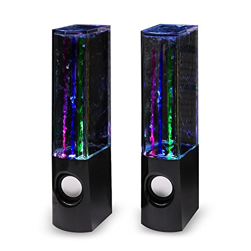 Aolyty H2O Water Led Speakers with Dancing Fountain 16 Colorful Light Show Sound Speaker for PC, MP3 Player, Laptops, Smartphone Black