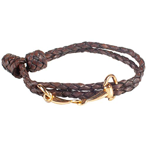Ladies Leather Bracelet With Snaffle Buckle Details Equestrian Gifts For Horse Lovers & Riders (Plait Dark Brown)