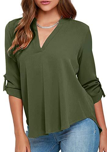 YMING Damen Blusen Halber Ärmel Chiffon Bluses Elegante Oberteil Casual Shirt Armeegrün XL