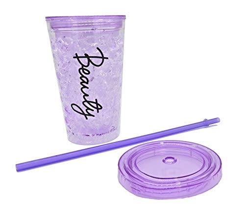 ML Vaso-Frio-Hielo con Doble Pared con Tapa y Pajita (acrílico, Reutilizable) no Necesita Hielo para Bebidas heladas Color Lila (Lila)