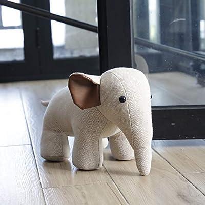 Interior Door Stopper Fabric Doorstops Decorative Elephant Lover Gift Creamy White