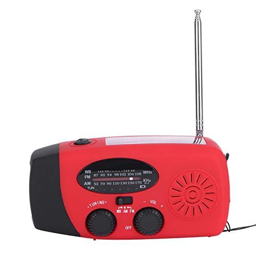 Radio de Emergencia, portátil con manivela autoalimentado WB/Am/FM NOAA Radio de Carga Solar/USB con Linterna y Banco de energía, Radio multifunción para Exteriores
