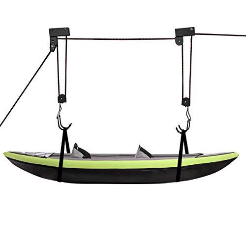 COSTWAY Kajak-Deckenlift Fahrrad Deckenlift, Kanu-Lagerlift mit Haken und Seilrolle, Deckenhänger für Kajak, Fahrrad, Kanu, Boot und Leiter