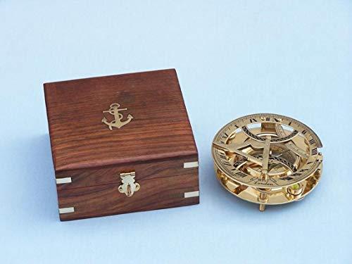 Rundes Sonnenuhr-Kompass aus massivem Messing, mit Rosenholz-Box.
