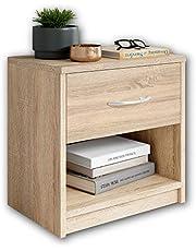 Stella Trading PEPE Table de chevet – Table de chevet simple avec un tiroir adapté à chaque lit et chambre à coucher.