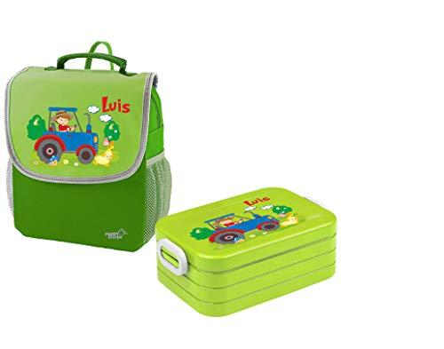 Mein Zwergenland Set 1 Kindergartenrucksack und Brotdose Happy Knirps Next mit Name Traktor Bauernhof, 2-teilig, Grün