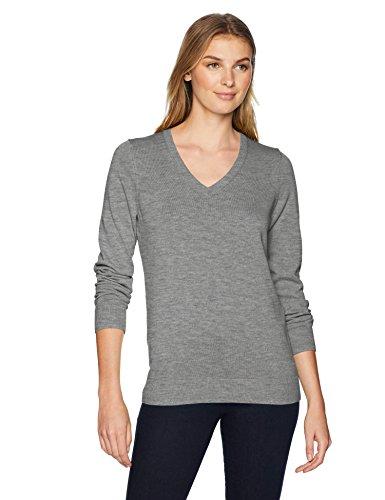 Amazon Essentials Women's Lightweight Long-Sleeve V-Neck Sweater, Light Grey Heather, XX-Large
